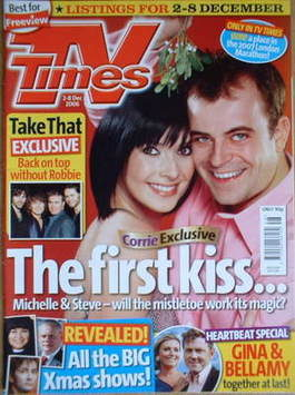 <!--2006-12-02-->TV Times magazine - Kym Ryder and Simon Gregson cover (2-8