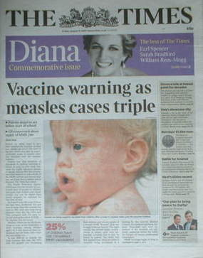 The Times newspaper - Princess Diana cover (31 August 2007)