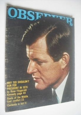 <!--1974-03-17-->The Observer magazine - Ted Kennedy cover (17 March 1974)