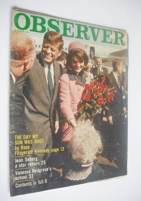 <!--1974-03-10-->The Observer magazine - JFK and Jackie Kennedy Onassis cov