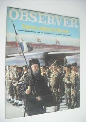 <!--1971-04-04-->The Observer magazine - Archbishop Makarios cover (4 April