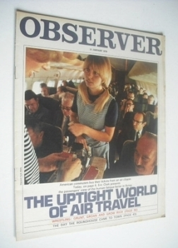 The Observer magazine - The Uptight World Of Air Travel cover (11 January 1970)