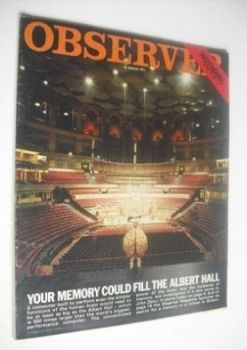 The Observer - Your Memory Could Fill The Albert Hall cover (21 March 1971)