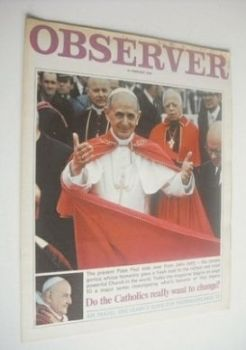 The Observer magazine - Pope Paul VI cover (18 January 1970)