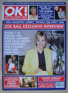 <!--1998-04-24-->OK! magazine - Zoe Ball cover (24 April 1998 - Issue 107)