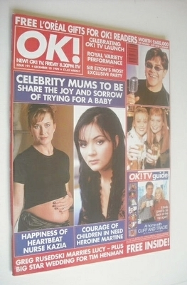 <!--1999-12-10-->OK! magazine - Celebrity Mums To Be cover (10 December 199