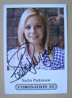 Sacha Parkinson autograph (hand-signed cast card)