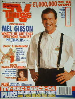 <!--1991-04-13-->TV Times magazine - Mel Gibson cover (13-19 April 1991)