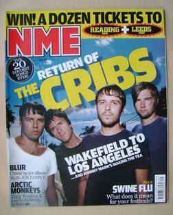 <!--2009-08-01-->NME magazine - The Cribs cover (1 August 2009)
