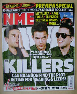 <!--2008-08-23-->NME magazine - Brandon Flowers cover (23 August 2008)