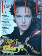 British Elle magazine - New Year 1989 issue - Susan Miner cover