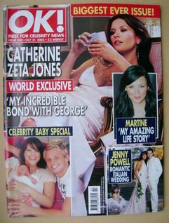 <!--2003-10-21-->OK! magazine - Catherine Zeta Jones cover (21 October 2003