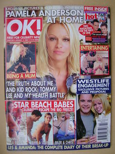 <!--2003-01-14-->OK! magazine - Pamela Anderson cover (14 January 2003 - Is