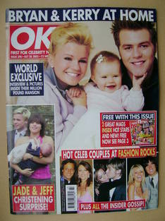 <!--2003-10-28-->OK! magazine - Kerry and Bryan McFadden cover (28 October