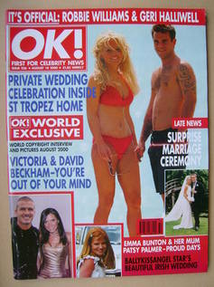 <!--2000-08-18-->OK! magazine - Geri Halliwell and Robbie Williams cover (1