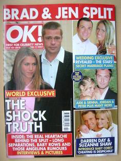 <!--2005-01-18-->OK! magazine - Jennifer Aniston and Brad Pitt cover (18 Ja