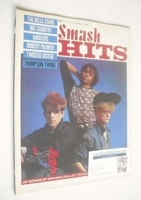 <!--1983-04-14-->Smash Hits magazine - The Thompson Twins cover (14-27 Apri