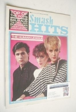 <!--1983-04-28-->Smash Hits magazine - The Human League cover (28 April - 1