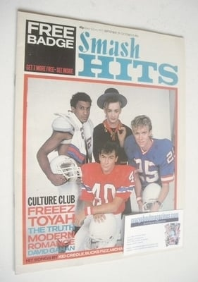 <!--1983-09-29-->Smash Hits magazine - Culture Club cover (29 September - 1