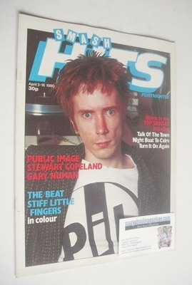 <!--1980-04-03-->Smash Hits magazine - John Lydon cover (3-16 April 1980)