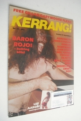 <!--1982-10-21-->Kerrang magazine - Baron Rojo cover (21 October - 3 Novemb