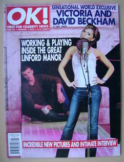 <!--2002-02-07-->OK! magazine - Victoria and David Beckham cover (7 Februar