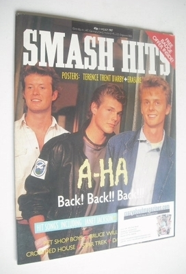 <!--1987-07-01-->Smash Hits magazine - A-Ha cover (1-14 July 1987)