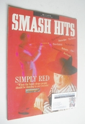 <!--1986-06-04-->Smash Hits magazine - Mick Hucknall cover (4-17 June 1986)