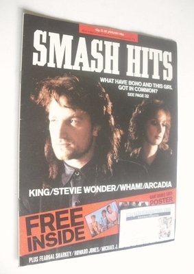<!--1986-01-15-->Smash Hits magazine - Bono and Maire Brennan cover (15-28
