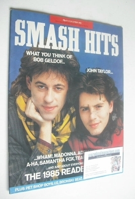 <!--1985-12-18-->Smash Hits magazine - John Taylor and Bob Geldof cover (18
