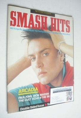 <!--1985-10-23-->Smash Hits magazine - Simon Le Bon and Ian Astbury cover (