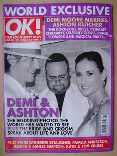 <!--2005-10-18-->OK! magazine - Demi Moore and Ashton Kutcher Wedding cover