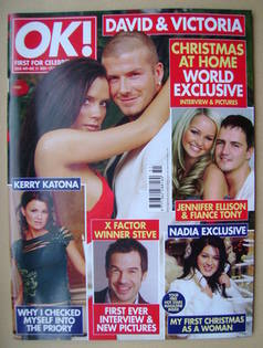 <!--2004-12-21-->OK! magazine - David and Victoria Beckham cover (21 Decemb