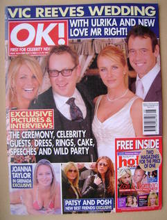 <!--2003-02-04-->OK! magazine - Vic Reeves Wedding cover (4 February 2003 -
