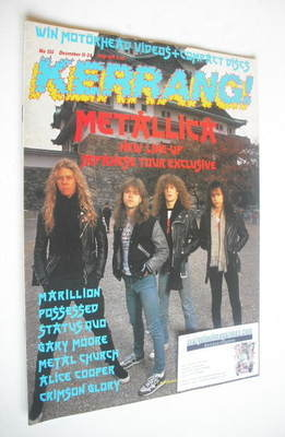 <!--1986-12-11-->Kerrang magazine - Metallica cover (11-24 December 1986 -