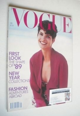 <!--1989-01-->British Vogue magazine - January 1989 - Linda Evangelista cov