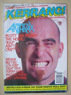 <!--1992-01-11-->Kerrang magazine - Scott Ian cover (11 January 1992 - Issu