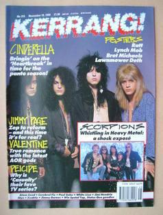 <!--1990-11-10-->Kerrang magazine - Cinderella cover (10 November 1990 - Is