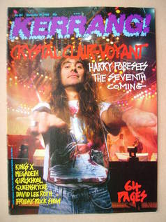 <!--1988-11-19-->Kerrang magazine - Steve Harris cover (19 November 1988 -