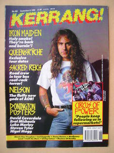 <!--1990-09-08-->Kerrang magazine - Steve Harris cover (8 September 1990 -
