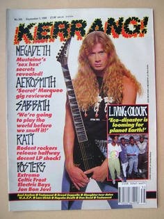 <!--1990-09-01-->Kerrang magazine - Dave Mustaine cover (1 September 1990 -