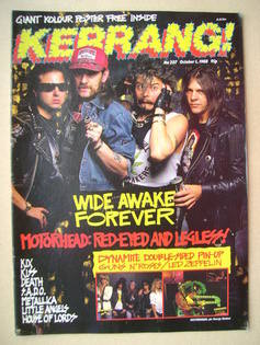 <!--1988-10-01-->Kerrang magazine - Motorhead cover (1 October 1988 - Issue