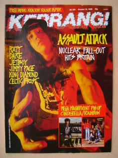 <!--1988-10-22-->Kerrang magazine - Dan Lilker cover (22 October 1988 - Iss