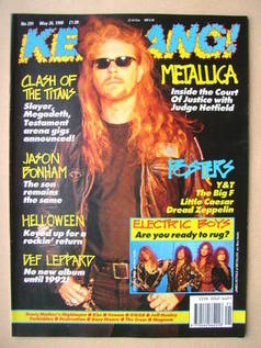 <!--1990-05-26-->Kerrang magazine - James Hetfield cover (26 May 1990 - Iss
