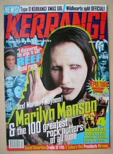 <!--1996-11-02-->Kerrang magazine - Marilyn Manson cover (2 November 1996 -