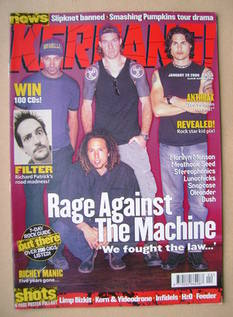 <!--2000-01-29-->Kerrang magazine - Rage Against The Machine cover (29 Janu