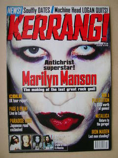 <!--1998-04-04-->Kerrang magazine - Marilyn Manson cover (4 April 1998 - Is