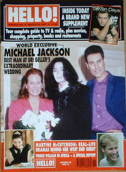 <!--2001-03-20-->Hello! magazine - Michael Jackson and Uri Geller cover (20