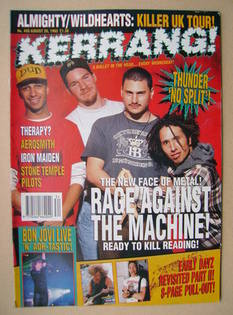 <!--1993-08-28-->Kerrang magazine - Rage Against The Machine cover (28 Augu