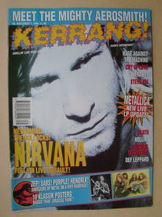 <!--1993-08-07-->Kerrang magazine - Kurt Cobain cover (7 August 1993 - Issu